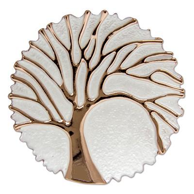 CLIXS Kettenanhänger Baum des Lebens rosévergoldet Weiß