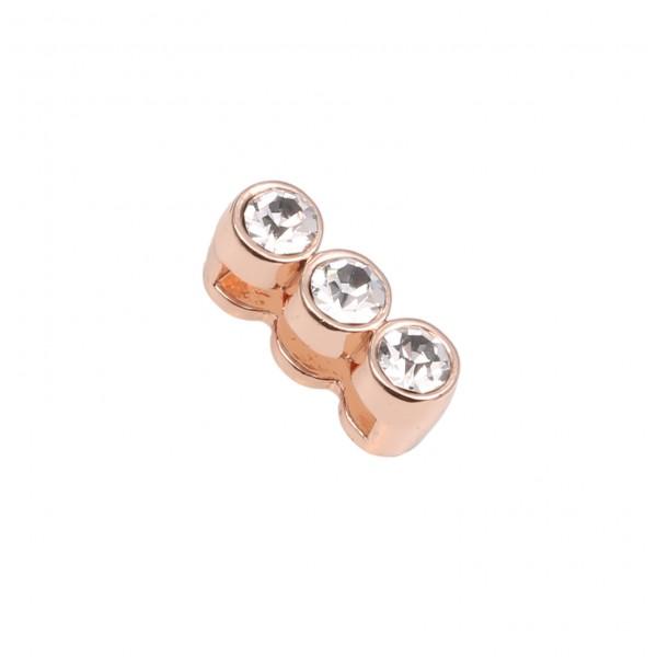 SlideOn Charm mit 3 Strasssteinen rosévergoldet • Slider für Mesh-Sammelarmband