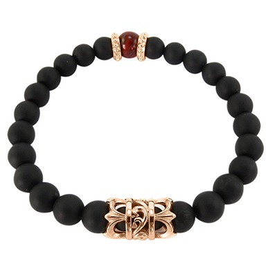 URBAN ROCKS Armband schwarze Achatsteine, Tigerauge, Edelstahl-Elemente IP rosévergoldet, 8 mm