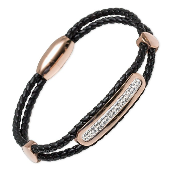 Kunstlederarmband Sesriem Edelstahl rosévergoldet mit Magnetverschluss - Länge 19cm & 21cm