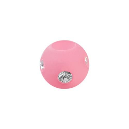 Polarisperle Kugel Rosa, 8mm mit Strass