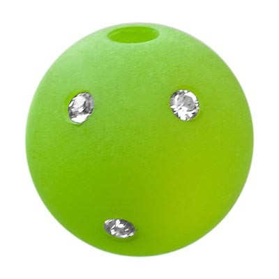Polarisperle Kugel Hellgrün, 16mm mit Strass