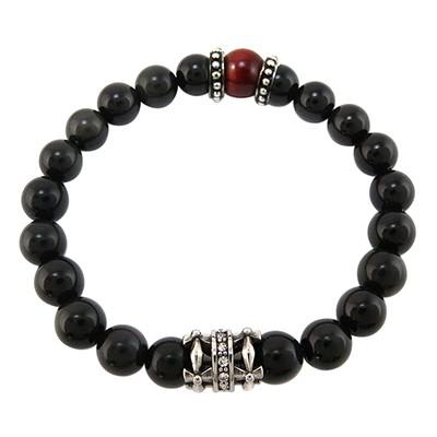 URBAN ROCKS Armband schwarzer Obsidian, weiße Zirkonia, Tigerauge Rot, 8 mm