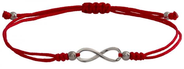 Wunscharmbändchen infinity Unendlichkeit • 925er Silber • Rot