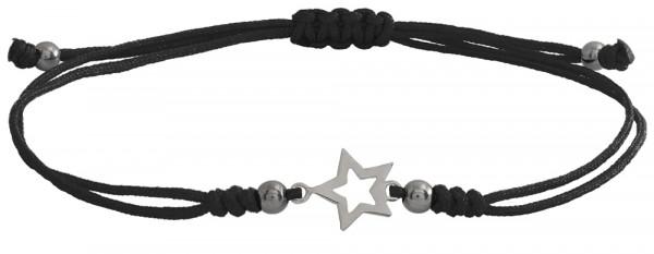 Wunscharmbändchen Stern Outline • 925er Silber • Schwarz