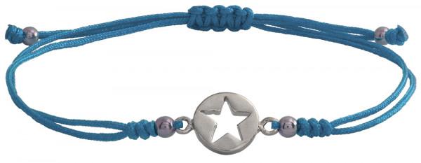 Wunscharmbändchen Stern im Kreis • 925er Silber • Hellblau