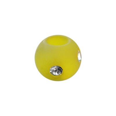 Polarisperle Kugel Gelb, 8mm mit Strass