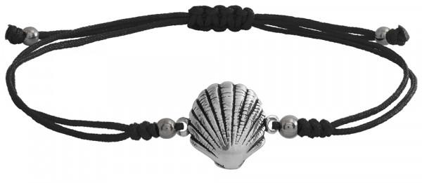 Wunscharmbändchen Sea Shell • 925er Silber • Schwarz