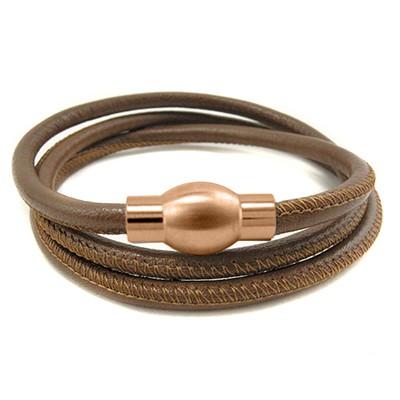 Balanxx BASIC Nappaleder Wickelarmband 3-fach, Braun, roségoldfarbener Magnetverschluss, 4mm, 56cm