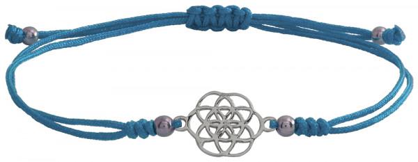 Wunscharmbändchen Mandala • 925er Silber • Hellblau