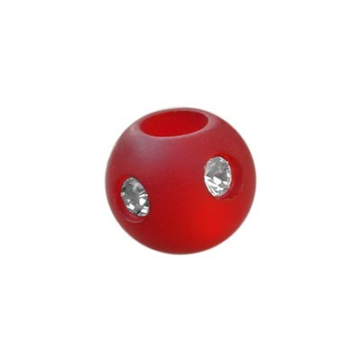 Polarisperle Kugel Rot, 8mm mit Strass