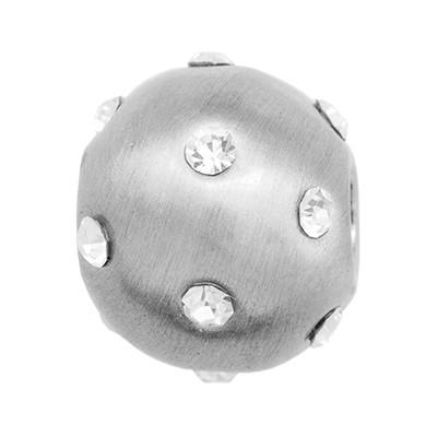 CLIXS Kettenanhänger Perle 12mm, versilbert mit Strass