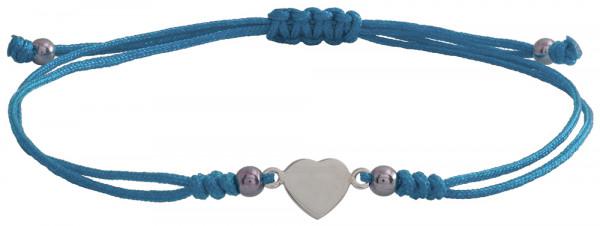 Wunscharmbändchen Herz • 925er Silber • Hellblau