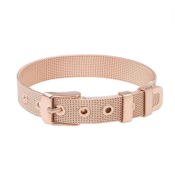 SlideOn Armband Edelstahl rosévergoldet • Mesh-Sammelarmband