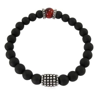 URBAN ROCKS Armband schwarze Achatsteine, drei Edelstahlelemente, Tigerauge Rot, 8 mm