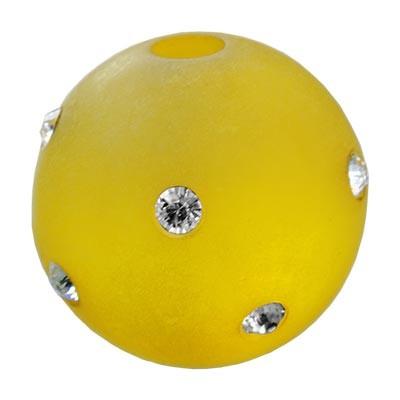 Polarisperle Kugel Gelb, 16mm mit Strass