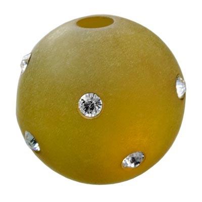 Polarisperle Kugel Oliv, 16mm mit Strass