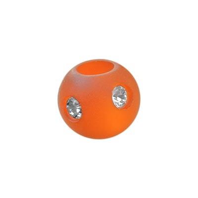 Polarisperle Kugel Orange, 8mm mit Strass