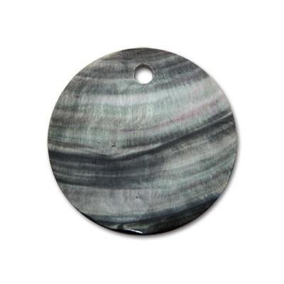 Edelstahlamulette Perlmuttscheibe 35mm - Grau