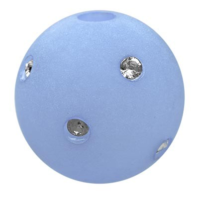 Polarisperle Kugel Hellblau, 16mm mit Strass