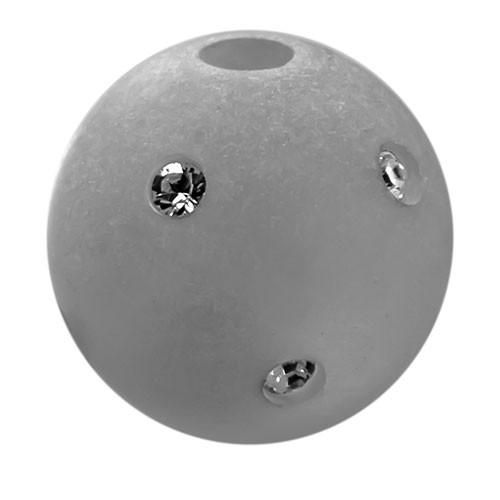Polarisperle Kugel Grau, 16mm mit Strass