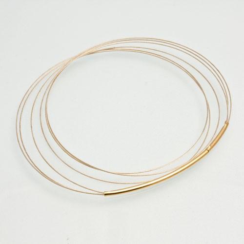 CLIXS Halskette Stahlreif dreifach, goldfarben - 38cm bis 50cm
