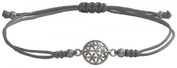 Wunscharmbändchen Blume des Lebens • 925er Silber • Grau