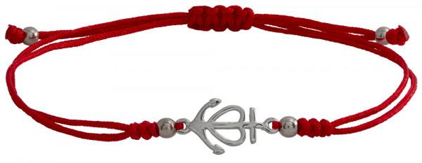 Wunscharmbändchen Anker mit Herz • 925er Silber • Rot