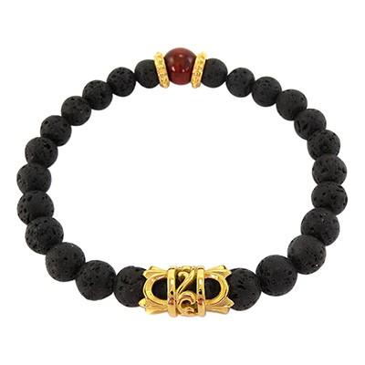 URBAN ROCKS Armband schwarze Lavasteine, Tigerauge, Edelstahl-Elemente IP vergoldet, 8 mm