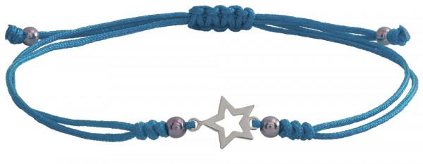 Wunscharmbändchen Stern Outline • 925er Silber • Hellblau