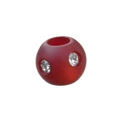 Polarisperle Kugel Bordeaux, 8mm mit Strass