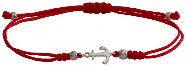 Wunscharmbändchen Anker • 925er Silber • Rot