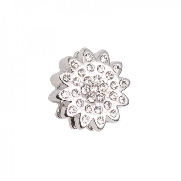 SlideOn Charm Blume mit Strass versilbert • Slider für Mesh-Sammelarmband