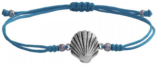 Wunscharmbändchen Sea Shell • 925er Silber • Hellblau